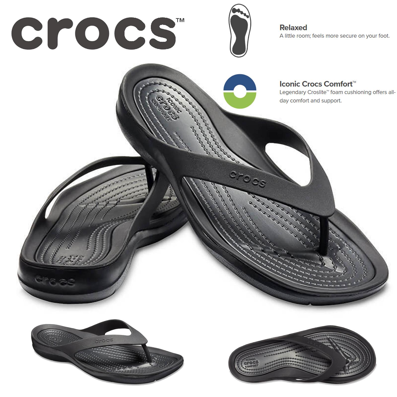 5d0de6e7c1c2 Crocs Women s Swiftwater Flip Flops Thongs - Black Black
