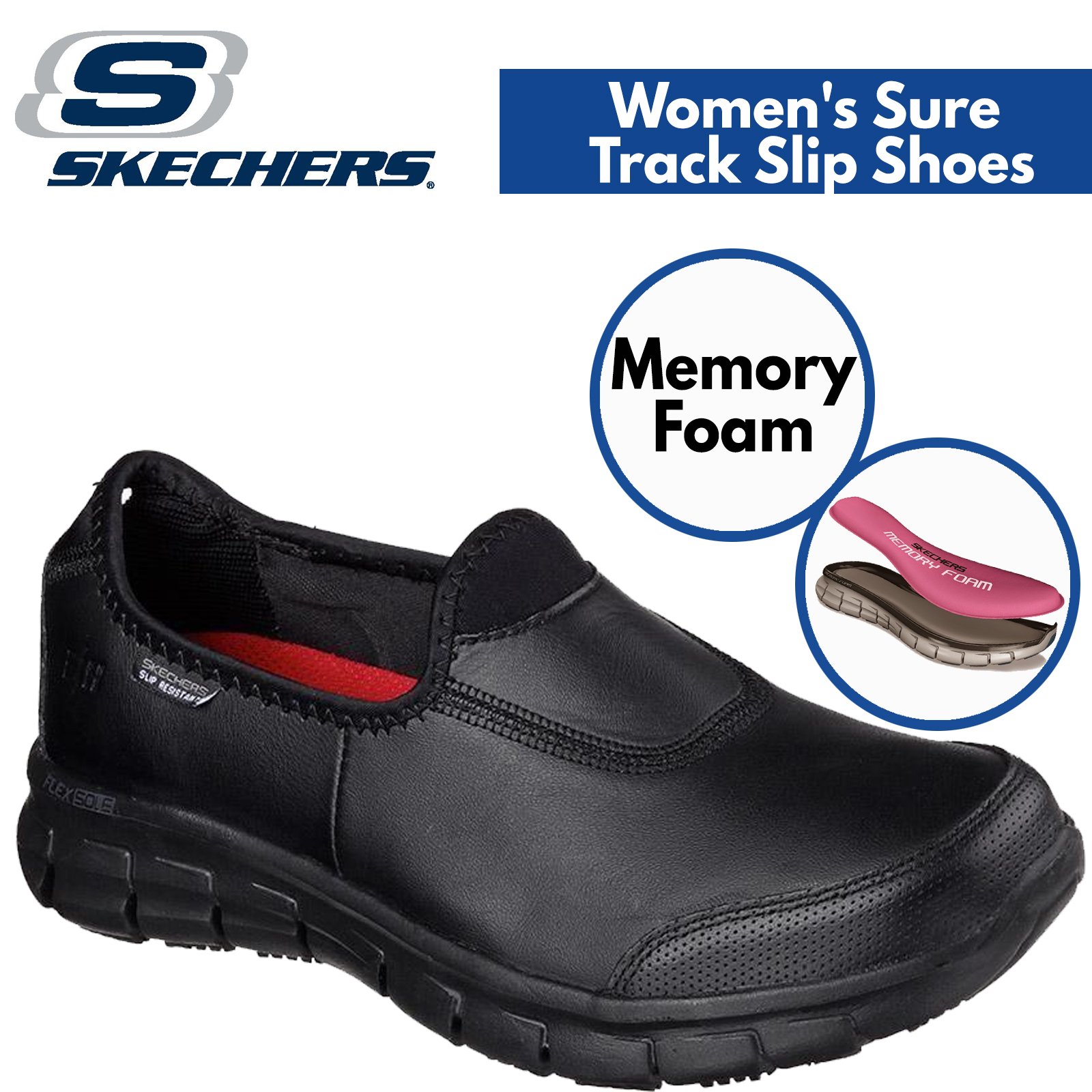 3110d16a7d79e Skechers Women's Sure Track Slip Resistant Leather Work Shoes Memory Foam -  Black