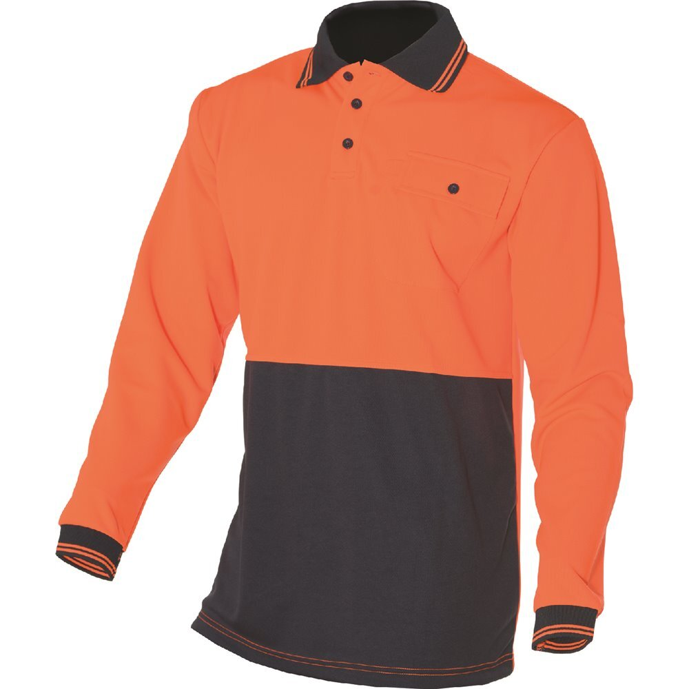 HUSKI-Hi-Vis-Polo-Shirt-Long-Sleeve-Safety-High-Visibility-Workwear-Driver-PPE thumbnail 5