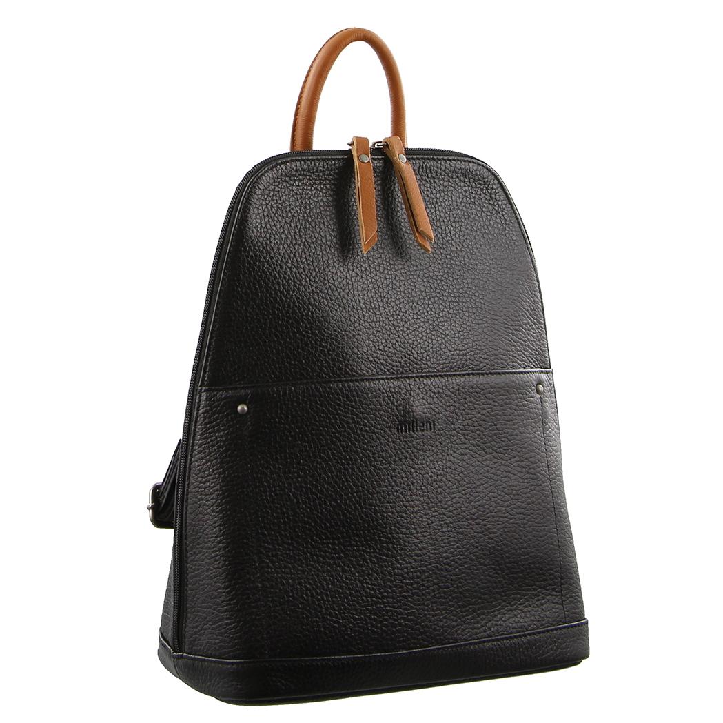 d2f34e4e45de Milleni Ladies Genuine Italian Leather Backpack Bag Twin Zip - Black Cognac