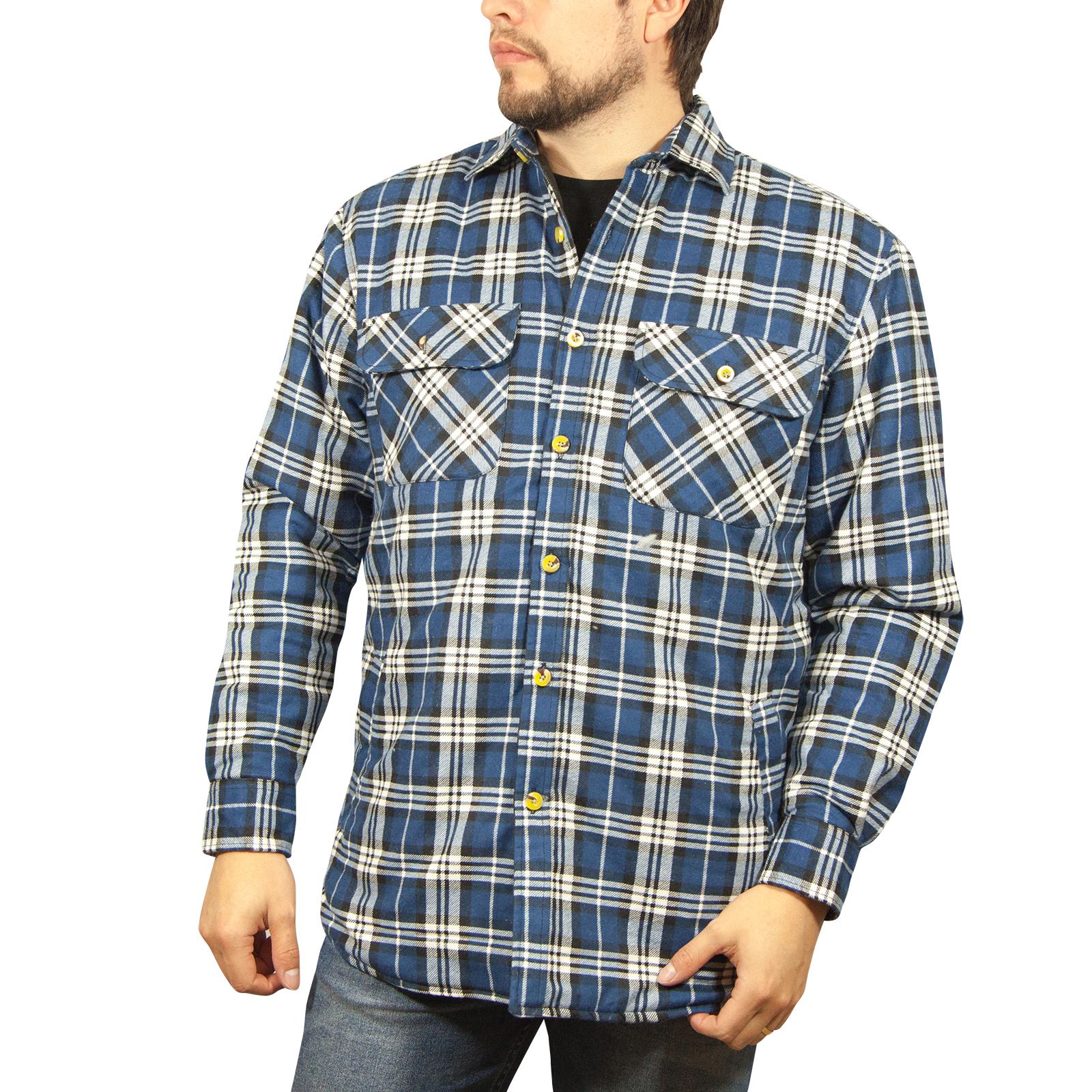 Chaqueta-Acolchada-flanelita-Camisa-Hombre-100-algodon-acolchado-caliente-de-invierno-franela miniatura 32