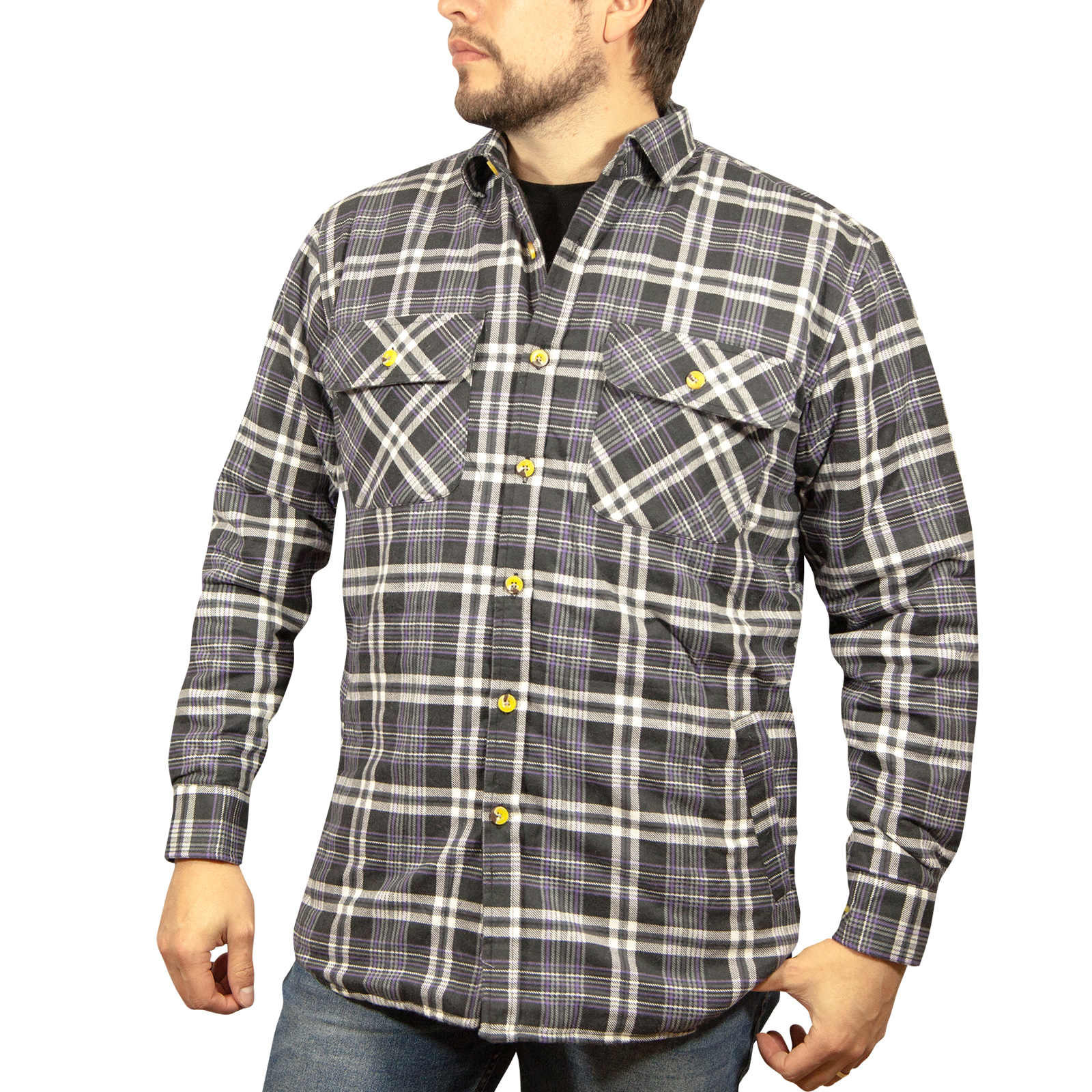 Quilted-Flannelette-Shirt-Men-039-s-Jacket-100-Cotton-Padded-Warm-Winter-Flannel thumbnail 64