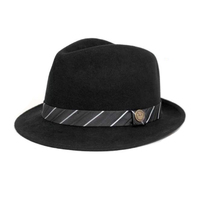 GOORIN BROTHERS First Class Classic 100% Wool Fedora Trilby Hat - Black
