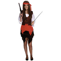 Deluxe PIRATE WOMAN COSTUME Fancy Dress Adult Outfit Sexy Halloween Ladies