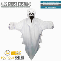 KIDS GHOST COSTUME Halloween Fancy Dress Scary White Robe Children's New