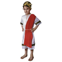 Children's ROMAN EMPEROR Boys Costume Julius Caesar King Party Greek Toga Outfit