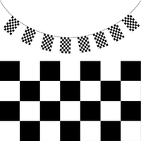 CHECKERED BUNTING FLAG Race Car Chequered Flag Banner Hanging Decoration Rectangular