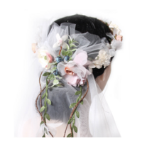 Deluxe Flower Crown w VEIL HEADBAND White Bride To Be Bridal Shower Bachelorette