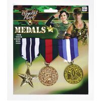 3x Army Solider Medals Combat Party Costume Halloween Fancy Dress Replica