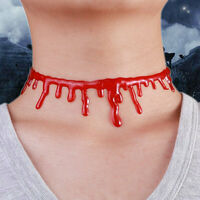 HALLOWEEN NECKLACE Red Drip Blood Choker Gothic Fashion Jewellery New