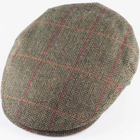 HARRIS TWEED Flat Hat Wool Country Driving Fishing Cap Linney - Mid Olive/Red