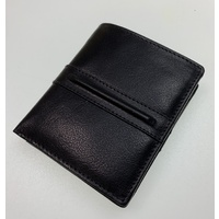 DENTS Men's Tri-Fold Leather Wallet w Coin Pocket - Black