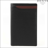 DENTS Smooth Leather Pocket Wallet with Contrast Stripe - Black