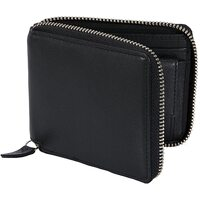 Dents Men's Smooth Nappa Leather Zip Round Wallet Rfid Protection Card Holder