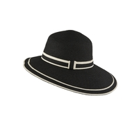 Dents Women's Dipped Brim 100% Paper Straw Fedora Style Hat Deluxe - Navy/White