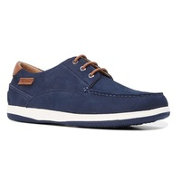 HUSH PUPPIES Men's Dusty Leather Shoes Soft Casual or Formal - Navy Nubuck