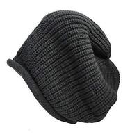 Dents Men's Slouch Knit Beanie Warm Winter Pullover Hat Skull Baggy - Black
