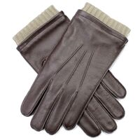 Dent's Mens Leather Gloves With 3 Point Stitch and Rib Contrast Cuff - Brown