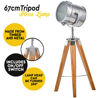 67cm Natural Bamboo Small Tripod Lamp with Chrome Head Nightstand Table Light