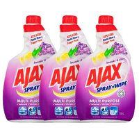 3x AJAX 750mL SPRAY N WIPE REFILL MULTI PURPOSE LAVENDER & CITRUS