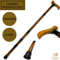 93cm WOODEN WALKING STICK Wood Cane Pole Carved Varnished Deluxe Quality Sturdy