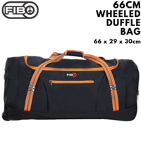 FIB 66cm Wheeled Duffle Bag Heavy Duty Travel Sports Gym w Straps - Black/Orange