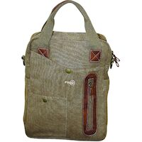 FIB Canvas Shoulder Bag w Tablet Organizer Section & Carry Handle Travel - Khaki