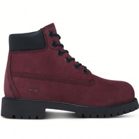 "Timberland Kids Youth 6"" Premium Waterproof Leather Boots Shoes - Dark Red"