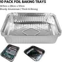 10x ALUMINIUM FOIL Trays Large Tray BBQ Roasting Disposable Takeaway Baking 32.5cm*26cm*5.5cm