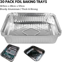 20x ALUMINIUM FOIL Trays Large Tray BBQ Roasting Disposable Takeaway Baking 32.5cm*26cm*5.5cm