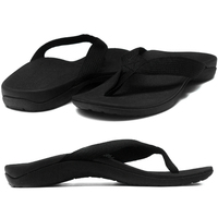 AXIGN Premium Orthotic Arch Support Flip Flops Sandal Thongs Archline - Black