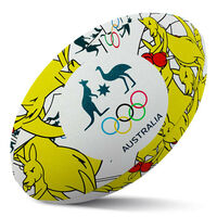 Summit Rugby Ball AOC Australian Olympics Boxing Kangaroo Rubber Game Size 5