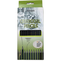12 pcs CHARCOAL PENCILS Artist Drawing Sketching Shading Draw Sketch Art Craft