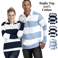Identitee Men's Striped RUGBY TOP 100% Cotton Long Sleeve Jumper Polo Shirt