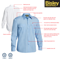 BISLEY Men's Epaulette Long Sleeve Shirt Security - Sky Blue