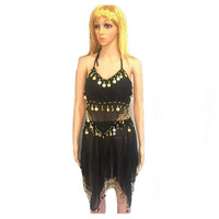 BELLY DANCE COSTUME Dancer Dancing Party Dress Beads Bells Top Indian Bollywood