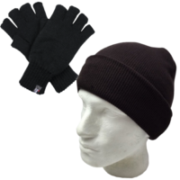 2Pcs Set Dents Thinsulate Knitted Fingerless Gloves + Plain Beanie Hat Winter Warm New