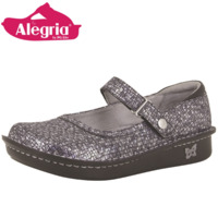 ALEGRIA Belle Comfort Slip On Women's Work Working Flat Shoes Strap - Silver