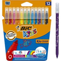 Pack of 12 BIC Kids Vivid Colour Markers Felt Pens Couleur Medium Blocked Tip