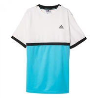 Adidas Boys Court T-Shirt White Blue Black Tee Top Tennis Sports Athletic