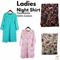 LADIES FLANNELETTE NIGHT SHIRT 100% COTTON Pyjamas PJs Sleepwear Nightie