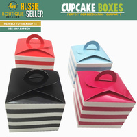28x CUPCAKE BOXES Wedding Party Favour Box Retro Muffin Bamboniere BULK New
