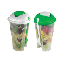 2pcs FRESH SALAD TO GO Cup Container Dressing Cup Forks BBQ Lunch Picnic Spork