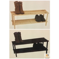 2-Tier Timber Shoe Rack Stackable Indoor Natural Wooden Shelf Stand Home Decor