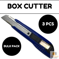 3x BOX CUTTER Knife Retractable Blade Snap Off Razor 18mm Durable Opener BULK