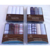 4x Mens Handkerchiefs 100% Cotton Fine GIFT BOX Business Mixed Colours 43cmx43cm