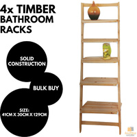4x TIMBER BATHROOM SHELVES Wood Rack Shelf Kitchen Storage 5 Tier BULK New