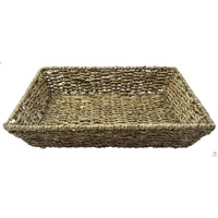 A4 SEAGRASS BASKET Rectangular Tapered Natural Woven Tray Storage 36cm x 25cm