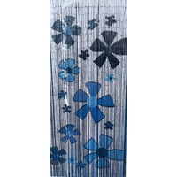 Deluxe Handmade Bamboo Door Curtain BLUE FLOWER Room Divider New Eco Strands