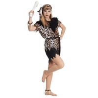 CAVEWOMAN Jungle Costume Ladies Dress Fancy Halloween Adult Tiger Cat One Size